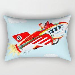 """""""Up, up and away!"""", the rocket man yelled.  Rectangular Pillow"""