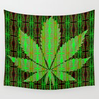 marijuana Wall Tapestries featuring Marijuana Leaf by Trusty Russ Tees