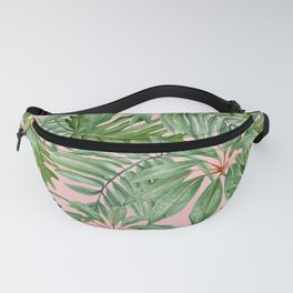Tropical art,Palmtree,monstera pattern,pink background Fanny Pack