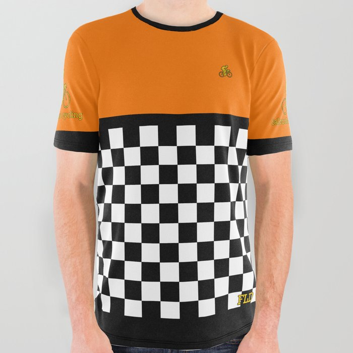 FLD Cycling Orange All Over Graphic Tee