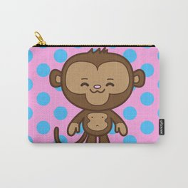 Little Monkey / Pink & Blue Carry-All Pouch