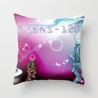 aliens Throw Pillows featuring aliens by amanvel