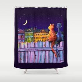 Night Cats Under City Stars Shower Curtain