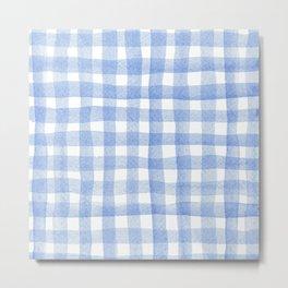 Sky Blue Watercolour Grid Metal Print
