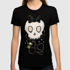 Girly Skull with Black Bow / Die for Music Womens Fitted Tee Black MEDIUM