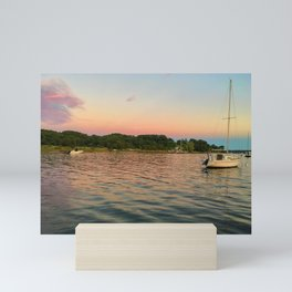 The abyss | Sailboat and sunset on Severn River, MD Mini Art Print