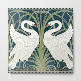 Swan Rush and Iris by Walter Crane Metal Print