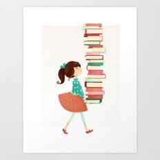 Library Girl Art Print