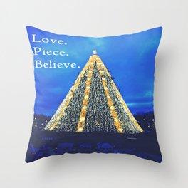 Love. Piece. Believe. Throw Pillow