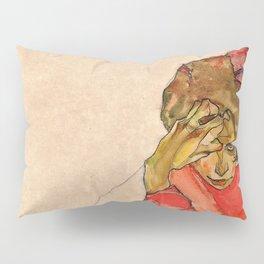 Egon Schiele - Kneeling Female In Orange Red Dress Pillow Sham