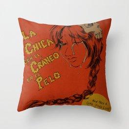 La Chica con el Craneo en el Pelo: The Girl With a Skull In Her Hair Throw Pillow