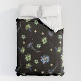Carnations, Soft Grunge, Black, Blue, Real Flowers Pattern Comforters