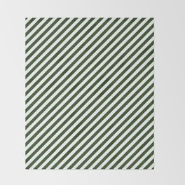 Small Dark Forest Green and White Candy Cane Stripes Throw Blanket