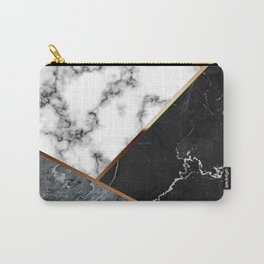 Elegant Silver Marble with Bronze Lining Carry-All Pouch