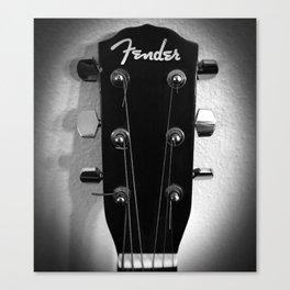 VINTAGE ACOUSTIC GUITAR HEAD B&W PHOTOGRAPHY Canvas Print