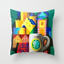 Germany -  Vintage 1950s Airline Poster Poster Throw Pillow