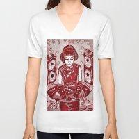 internet V-neck T-shirts featuring Internet Girl by Yukska