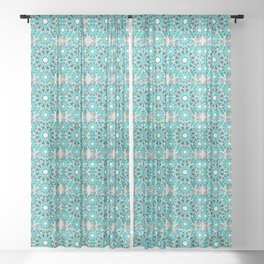 Mandala Pattern, Turquoise, Silver Grey and White Sheer Curtain