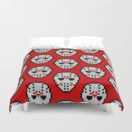 Knitted Jason hockey mask pattern Duvet Cover