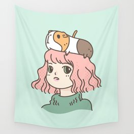 Guinea Pig Lady Wall Tapestry