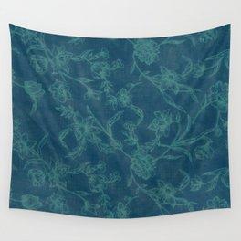 Flower Pattern (Green version) Wall Tapestry