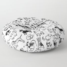 Black and White Dog Drawings | Cute Dog Breeds Pattern Floor Pillow
