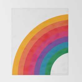 Retro Bright Rainbow - Left Side Throw Blanket