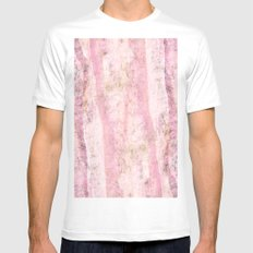 Pink marble MEDIUM Mens Fitted Tee White
