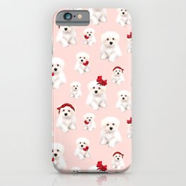 Maltese, Bolonka puppy pattern,white background  iPhone Case