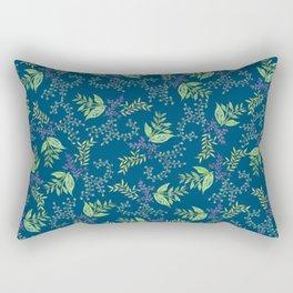 Leaves Pattern blue Rectangular Pillow