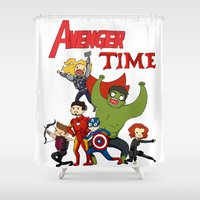 avenger Shower Curtains featuring Avenger Time! Ver 2 by ArtisticCole