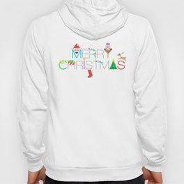 Merry Christmas Typography with Christmas Characters and Decorations Hoody