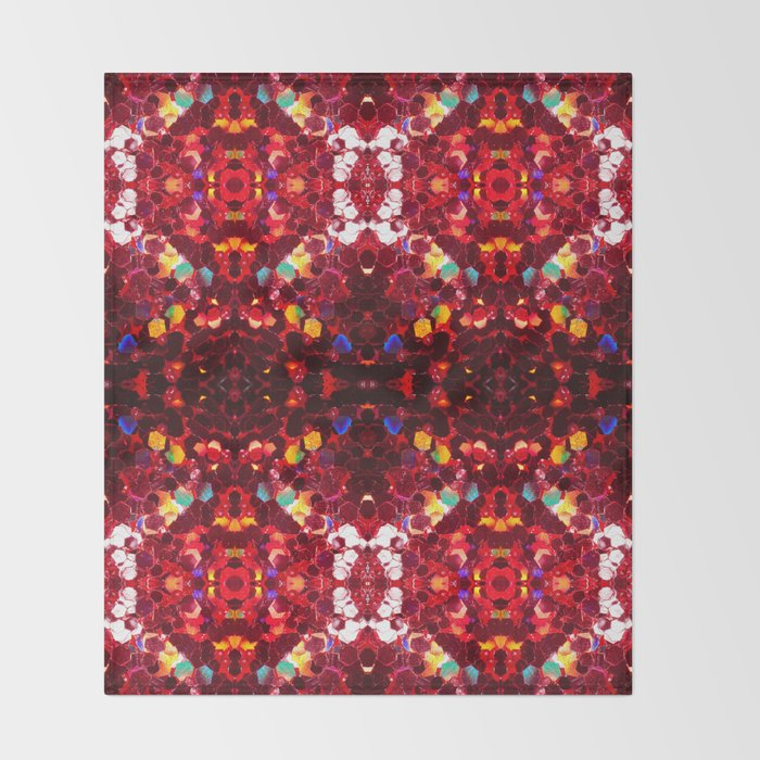 Red abstract mosaic shiny glitter pattern Mandala Throw Blanket