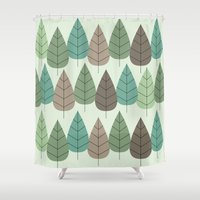 mid century Shower Curtains featuring Mid Century Trees by Johnson Waters