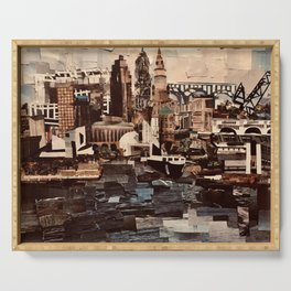 """""""Downtown Cleveland"""" in cut paper Serving Tray"""