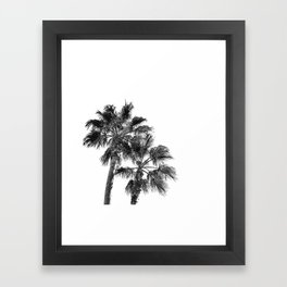 B&W Palm Tree Print | Black and White Summer Sky Beach Surfing Photography Art Framed Art Print