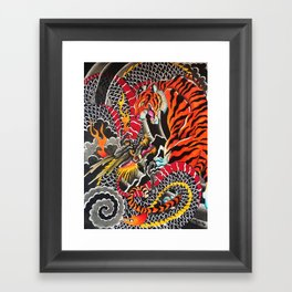 Tiger and dragon Framed Art Print