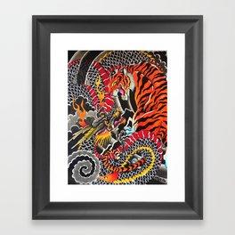 Tiger and dragon Framed Art Print