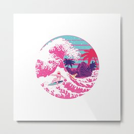 Spaceman surfing The Great pink wave Metal Print