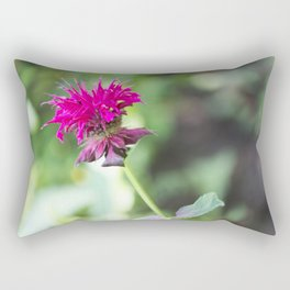 Pink Bee Balm Flower 1 Rectangular Pillow