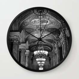 Palais Garnier in Black & White Wall Clock