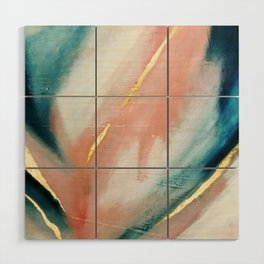 Celestial [3]: a minimal abstract mixed-media piece in Pink, Blue, and gold by Alyssa Hamilton Art Wood Wall Art