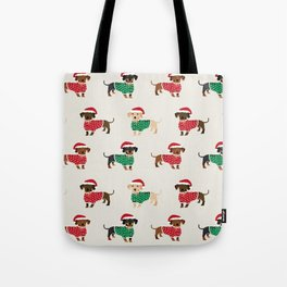 Dachshund christmas sweater holiday santa hat doxie dachsie lovers Tote Bag