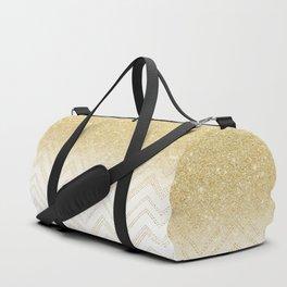Modern gold ombre chevron stitch pattern Duffle Bag