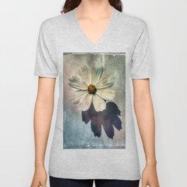White Flower Unisex V-Neck