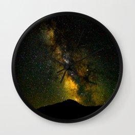 Beautiful Yellow Milky way Galaxy At Night Stars Sky Landscape Photography Wall Clock