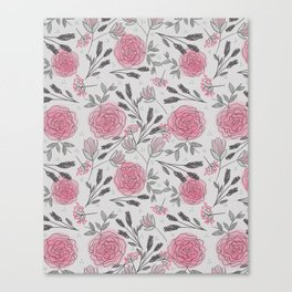 Soft and Sketchy Peonies Canvas Print