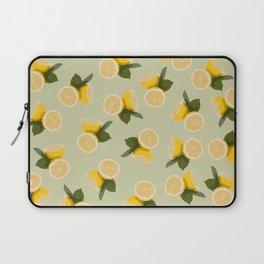 Yellow Citrus Lemon Fruit on Pale Lime Green Laptop Sleeve