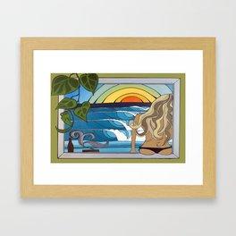 Woman in the Window Surf Art by Lauren Tannehill Art Framed Art Print