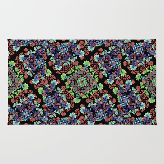 Colorful Stylized Floral Collage Rug